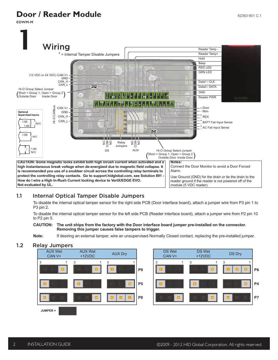 hid edge evo ewm m wiegand module installation guide page2 1 wiring, 1 internal optical tamper disable jumpers, 2 relay hid edge evo wiring diagram at bayanpartner.co