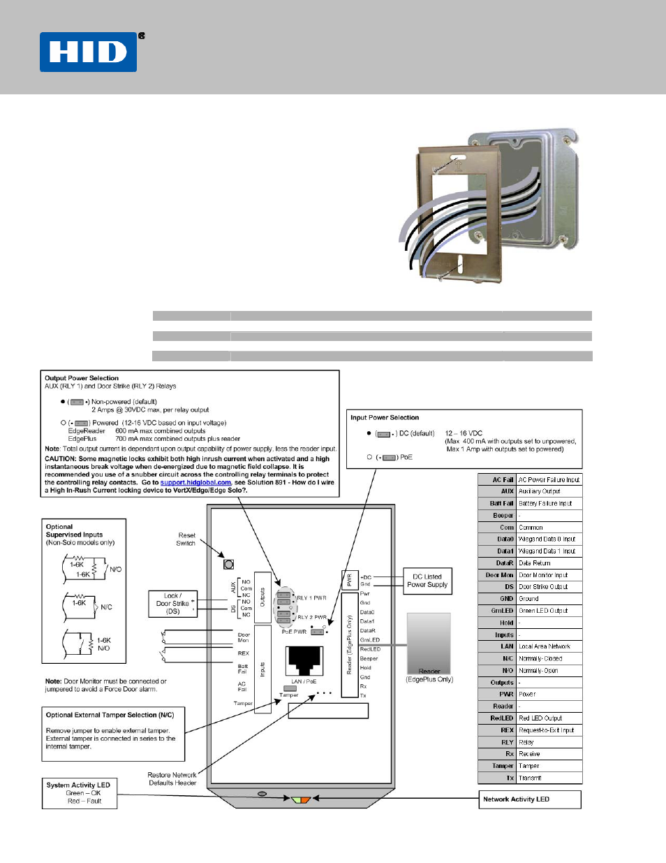 hid edge reader installation guide user manual 2 pages also for HID Installation Diagram