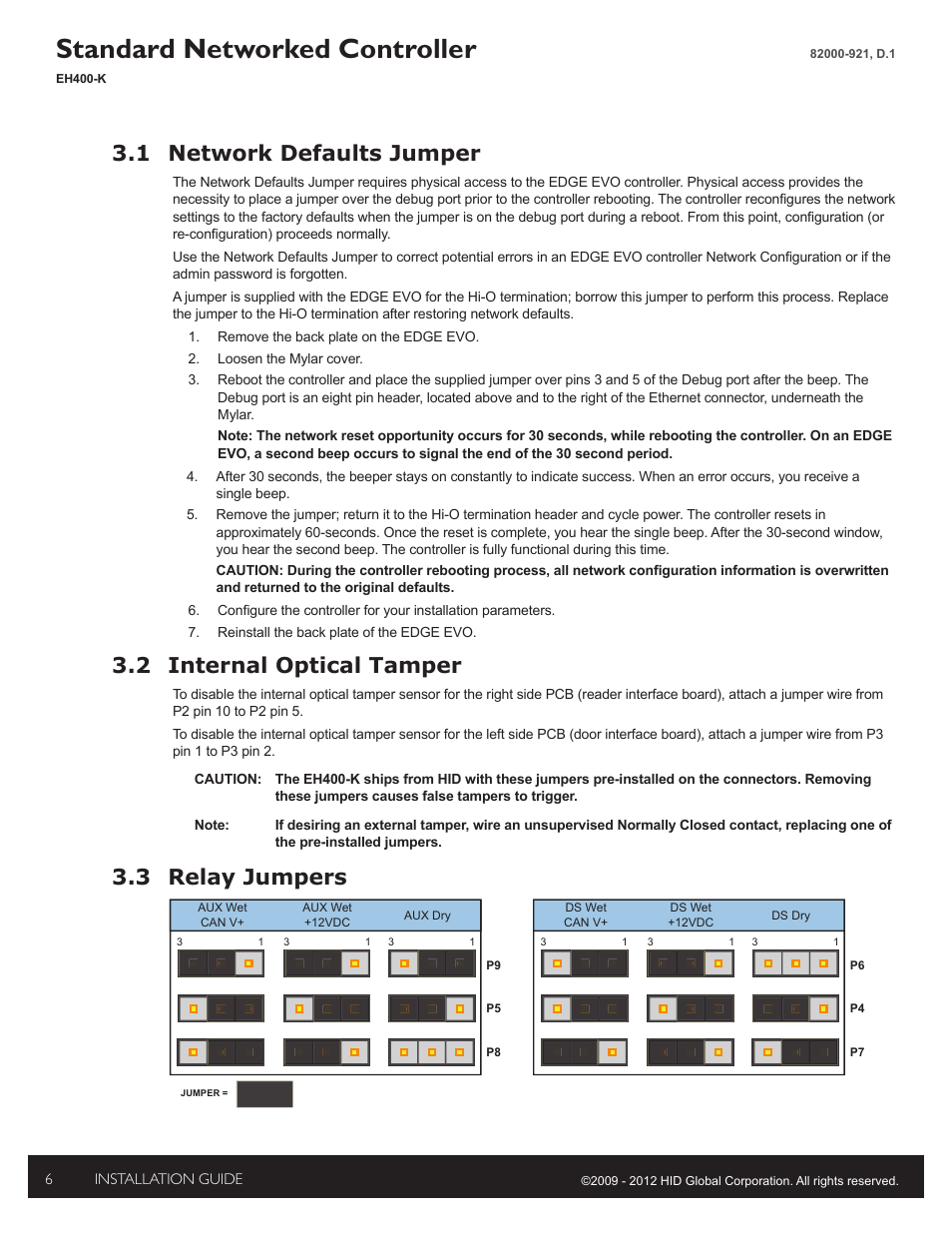 hid edge evo solo esh400 k networked controller installation guide page6 1 internal tamper disable jumpers, 2 relay jumpers, 3 tamper hid edge evo wiring diagram at bayanpartner.co