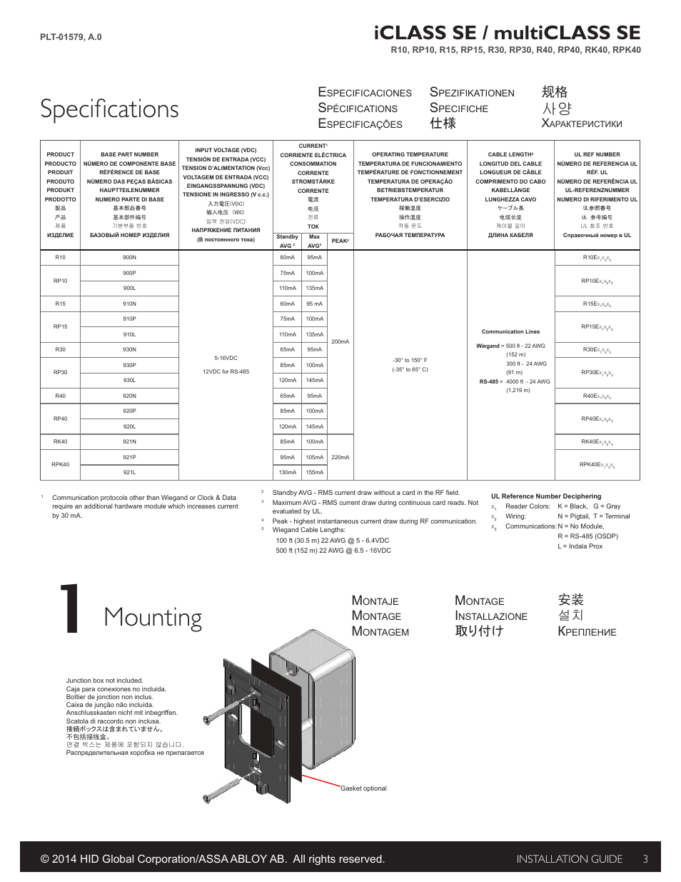 Specifications  Mounting  Iclass Se    Multiclass Se