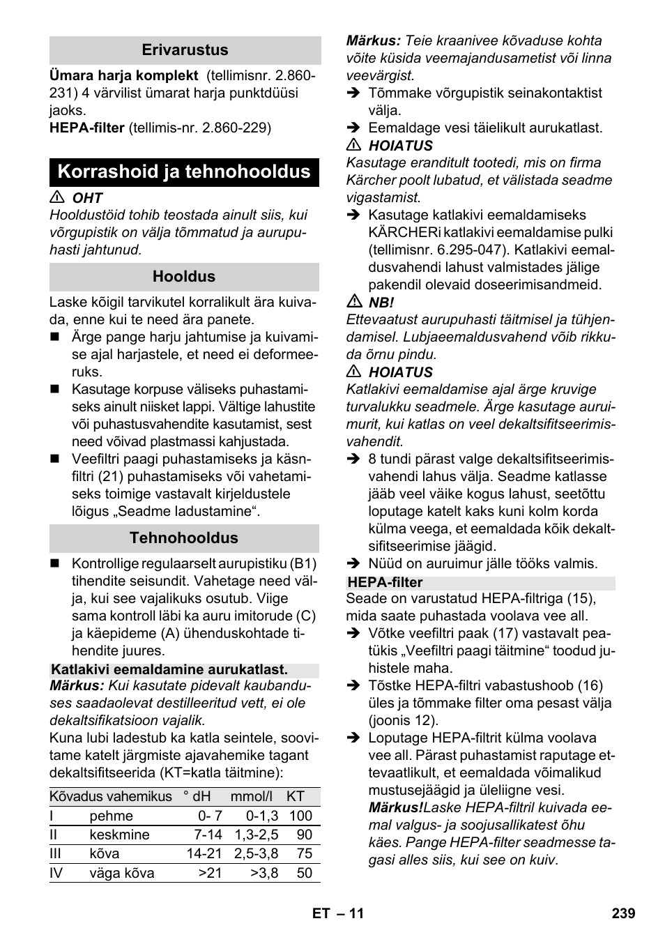 e6bfc0c7489 Korrashoid ja tehnohooldus   Karcher SV 1802 User Manual   Page 239 / 284