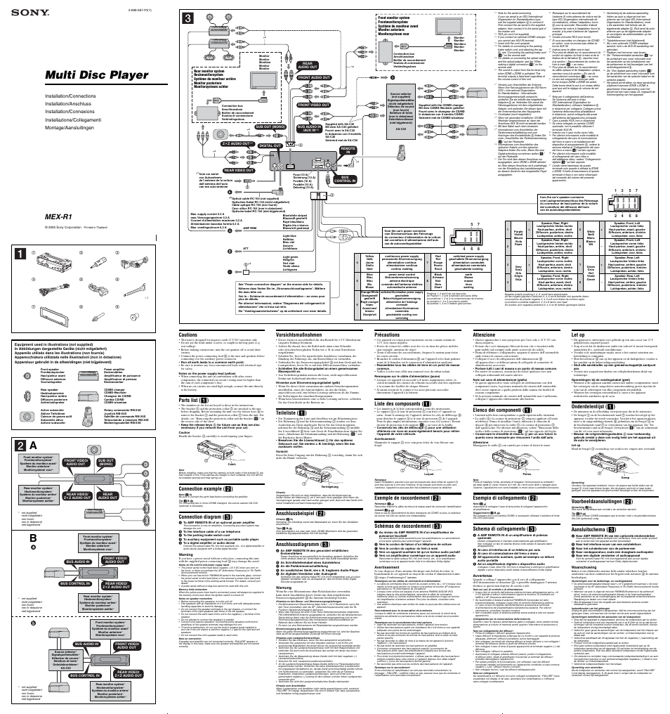 Sony MEX-R1 User Manual | 2 pages