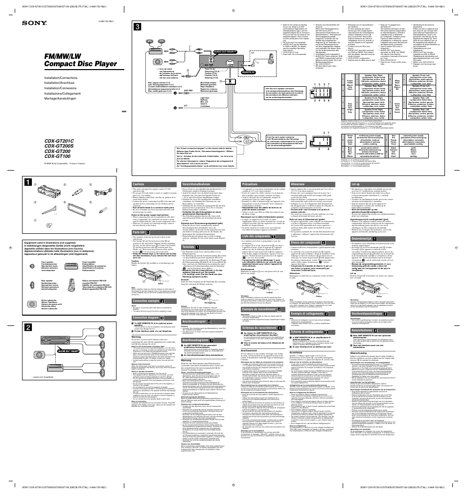 Sony Cdx Gt100 Wiring Diagram Online Schematics Ca705m User Manual 2 Pages Tuners Ssir Exa