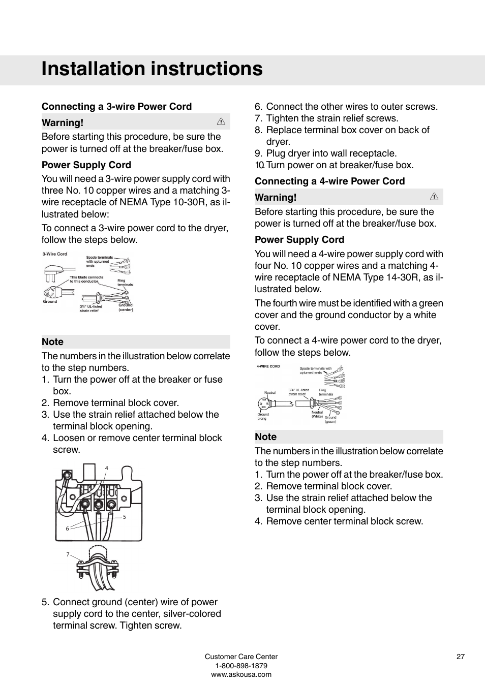 Connecting A 3 Wire Power Cord Supply 4 Ul Fuse Box Asko T793c User Manual Page 27 32