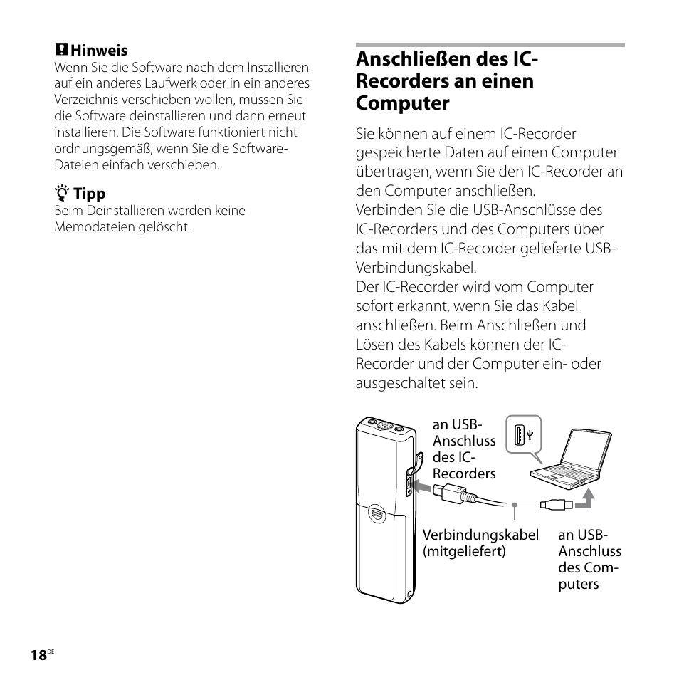 anschlie en des ic recorders an einen computer sony icd p520 user rh manualsdir com Sony Digital Voice Recorder sony ic recorder icd p520 user manual