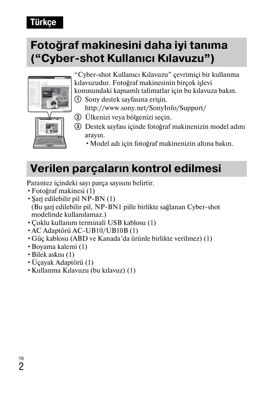 Turkce Verilen Parcalarin Kontrol Edilmesi Sony Dsc Tx77 User