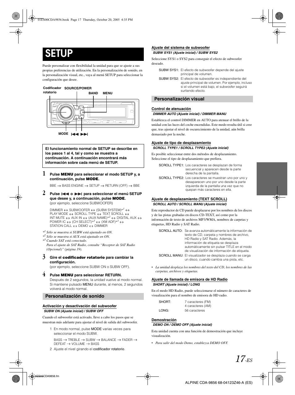 setup personalizaci n de sonido personalizaci n visual alpine rh manualsdir com Alpine CDA 9856 iPod Cable Alpine CDA- 9853