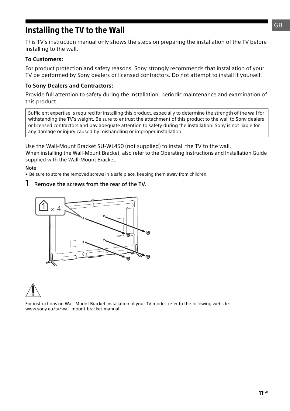 Installing The Tv To The Wall Sony Kd 49x8505b User Manual Page