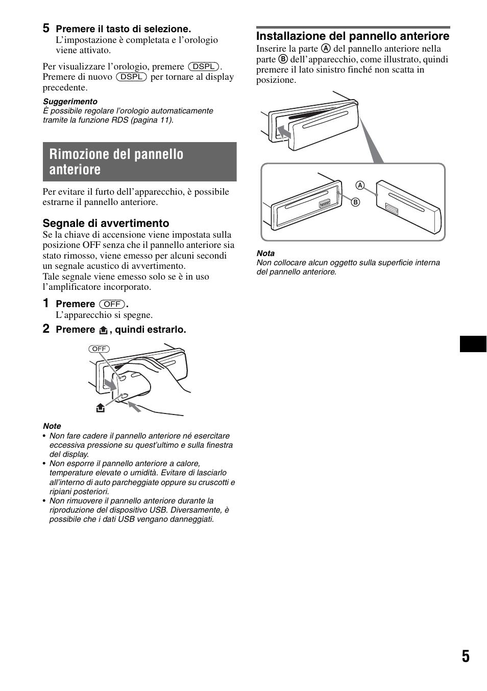 rimozione del pannello anteriore installazione del pannello rh manualsdir com sony cdx-gt420u wiring diagram Sony Xplod 52Wx4 Wiring-Diagram
