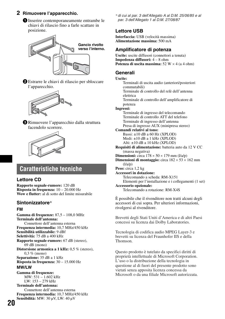 Caratteristiche tecniche | Sony CDX-GT420U User Manual | Page 84 / 112