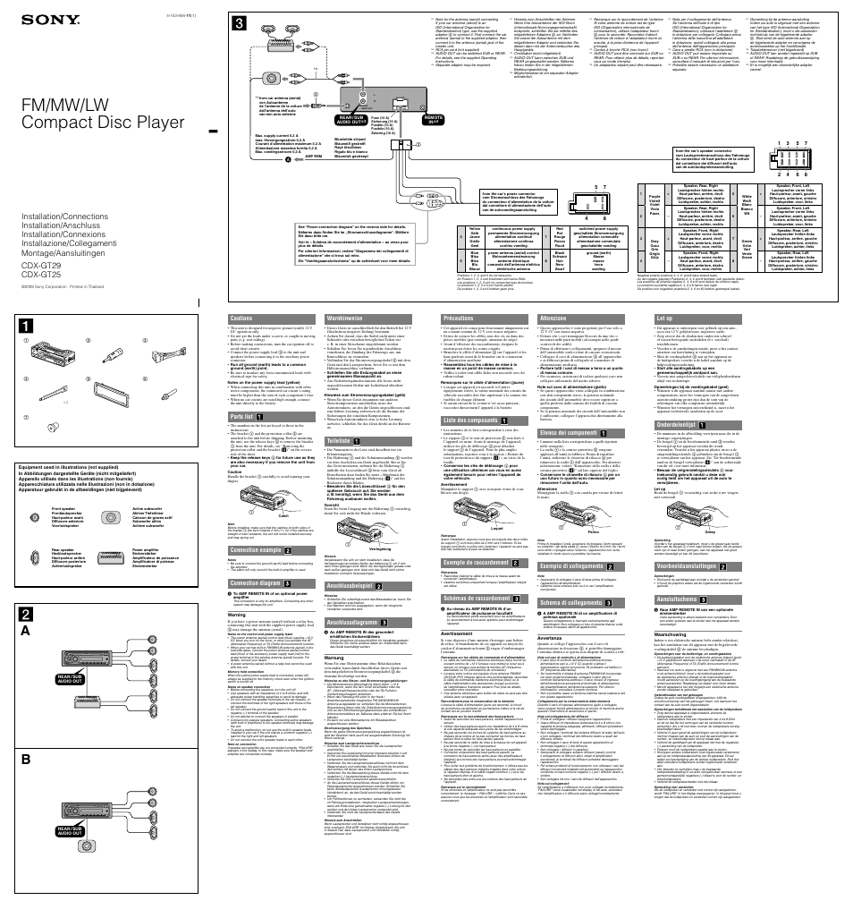 Sony Cdx Gt25 Wiring Diagram Best And Letter Xplod Gt08 Gt29 User Manual 2 Pages