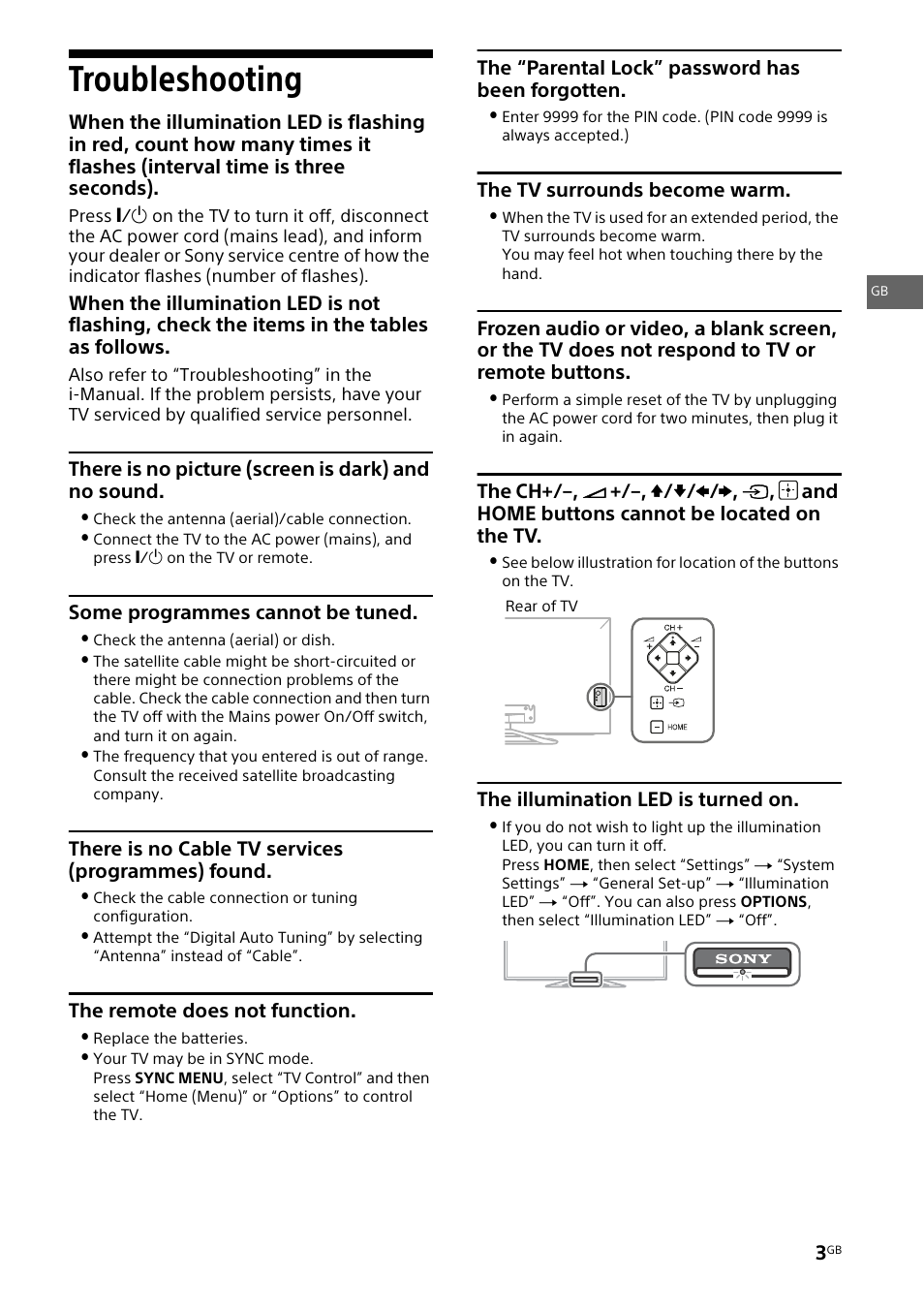 Troubleshooting | Sony KDL-46W905A User Manual | Page 3 / 92