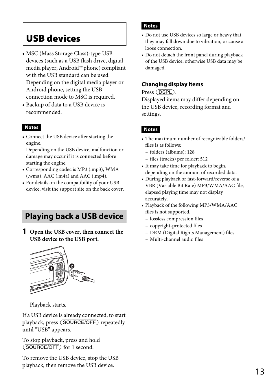 Usb devices, Playing back a usb device | Sony CDX-DAB500U