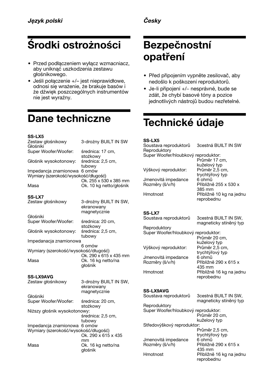 rodki ostro no ci dane techniczne bezpe nostn opat en sony ss rh manualsdir com Panasonic Lumix DMC LX5 Review Meade LX5