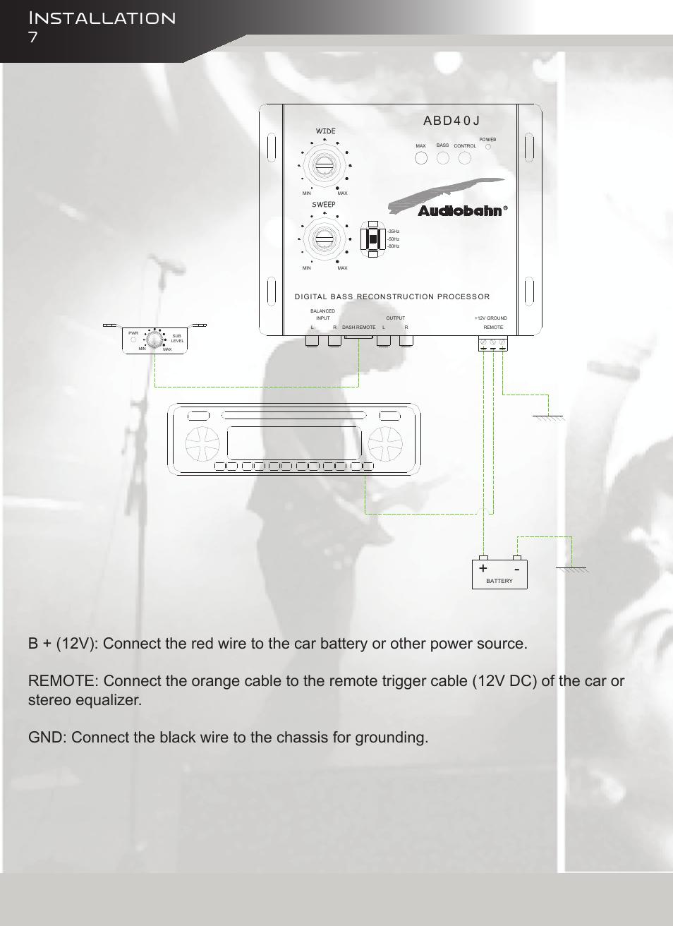 installation abd4 0 j audiobahn abd40j user manual page 8 12 rh manualsdir com Audiobahn Speakers Audiobahn Subwoofers