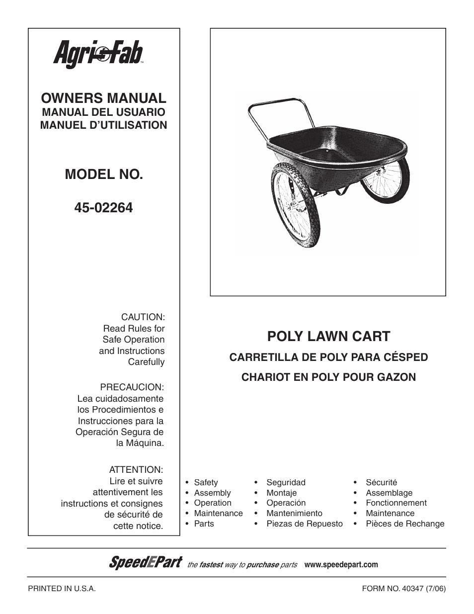 agri fab poly lawn cart 45 02264 user manual 8 pages original mode rh manualsdir com Agri-Fab Lawn Sweeper Parts Agri-Fab Mow-N-Vac