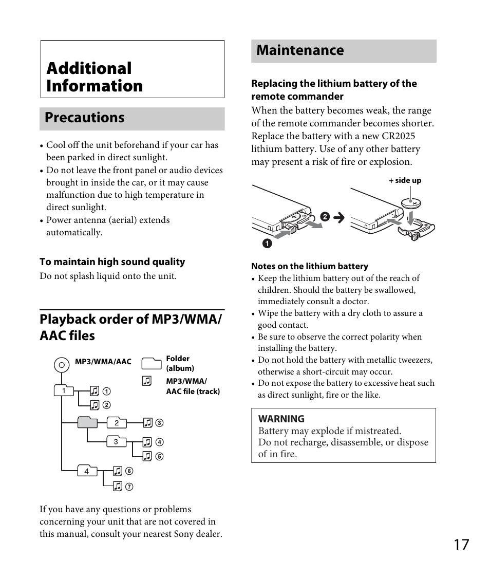 Additional Information  Precautions  Maintenance
