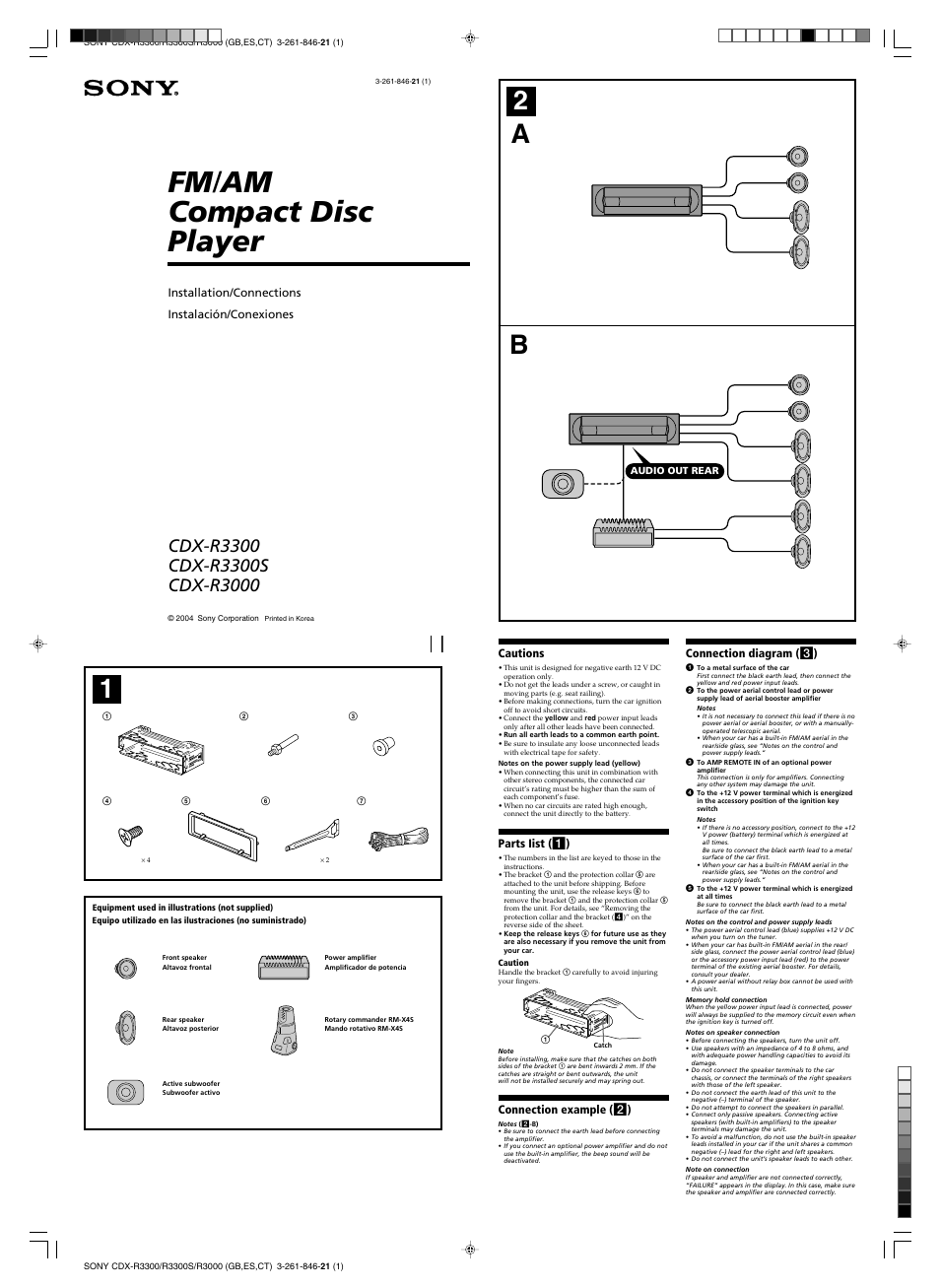 cdx fw700 wiring diagram sony cdx-r3000 user manual | 4 pages
