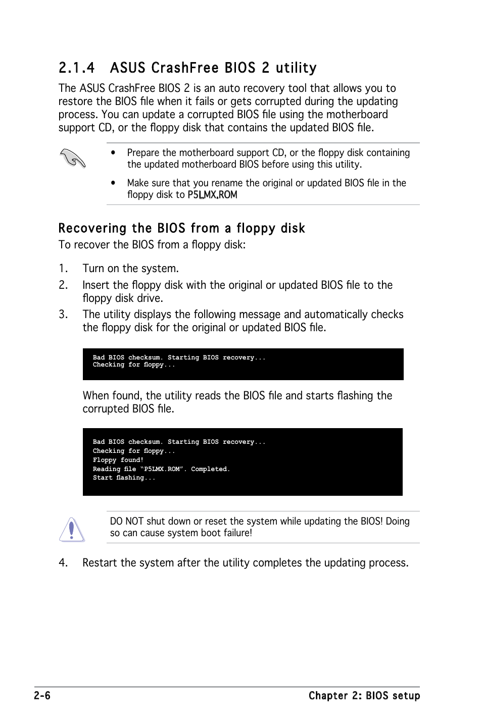 4 asus crashfree bios 2 utility, Recovering the bios from a