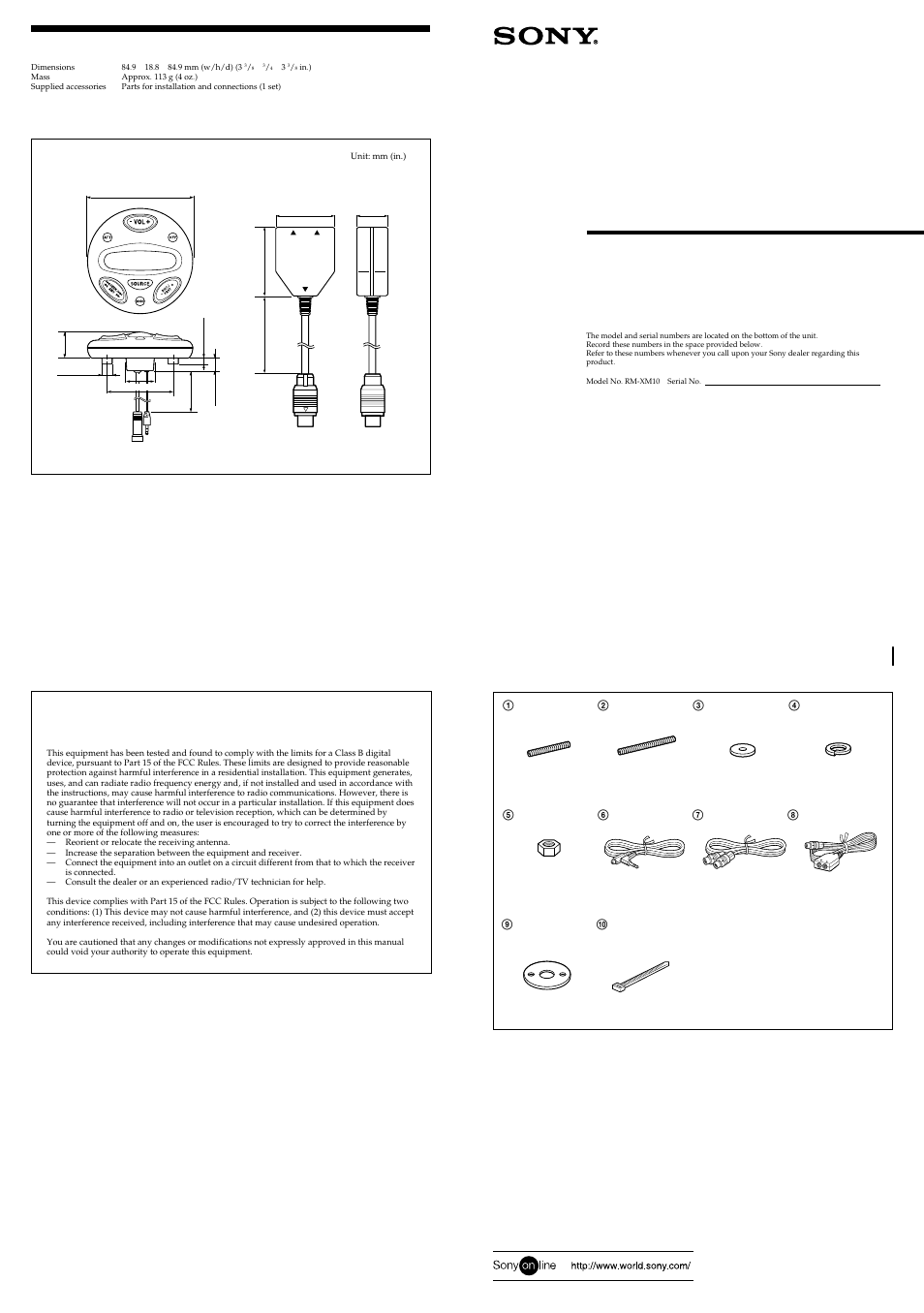 Sony Rm Xm10b User Manual 2 Pages Also For Xm10 Marine Stereo Wiring Diagram