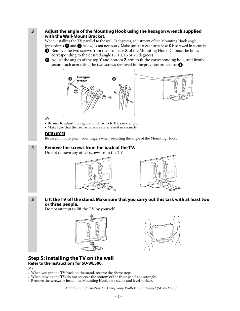 Step 5 Installing The Tv On The Wall Sony Kdl 40v4150 User Manual