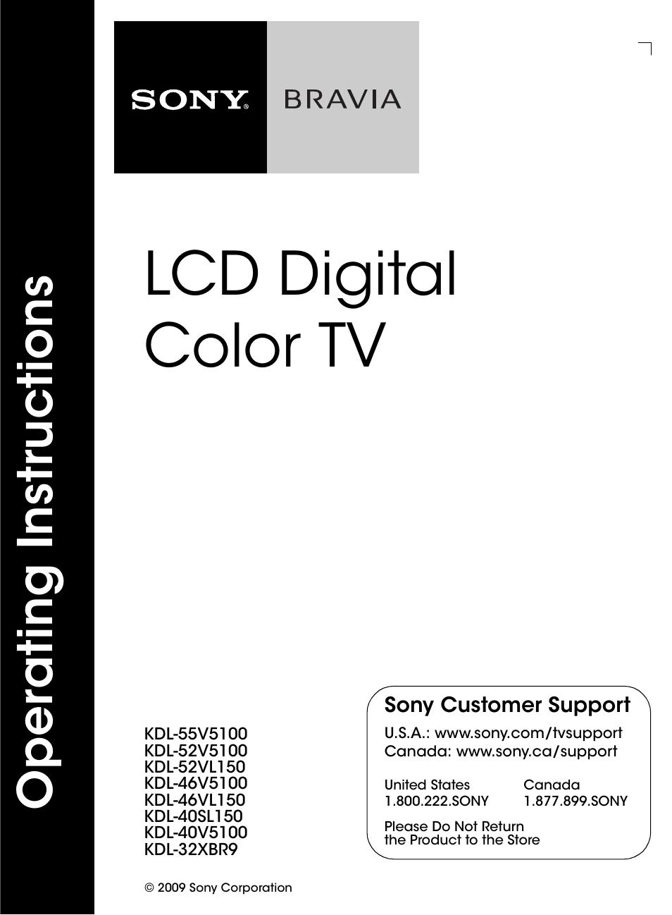sony kdl 46v5100 user manual 24 pages also for kdl 32xbr9 kdl rh manualsdir com Sony BRAVIA 46 Inch TV Sony BRAVIA 46 User Manual