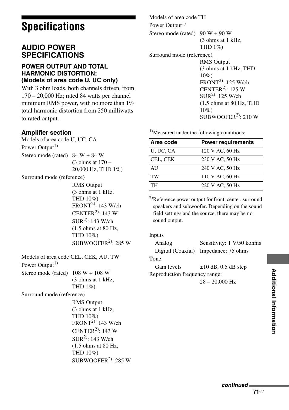 Specifications, Audio power specifications | Sony STR-KS2300