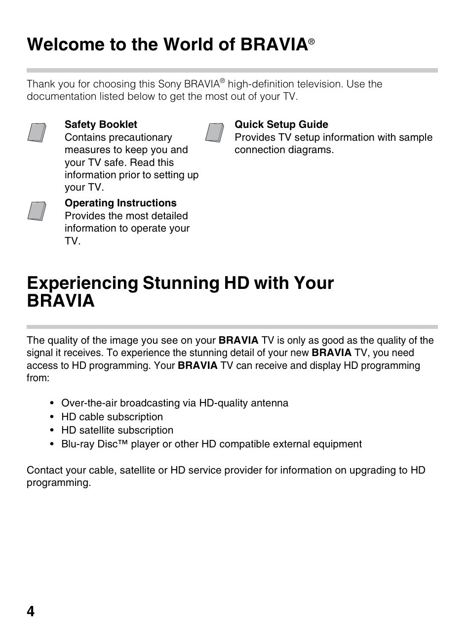 Introducing your new bravia, Welcome to the world of bravia