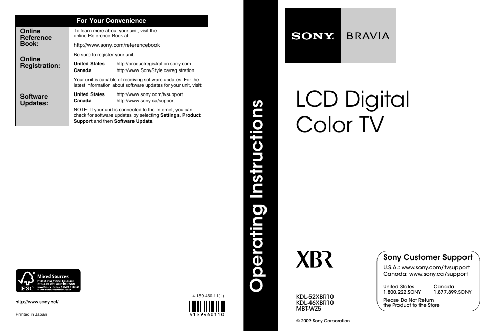 Sony KDL-46XBR10 User Manual   56 pages   Also for: KDL-52XBR10