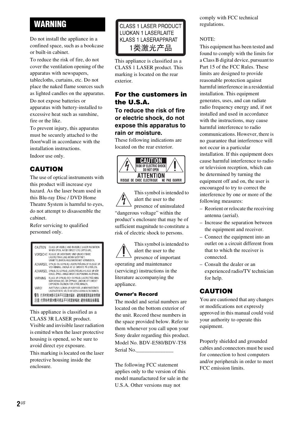 warning sony bdv t58 user manual page 2 72 original mode rh manualsdir com