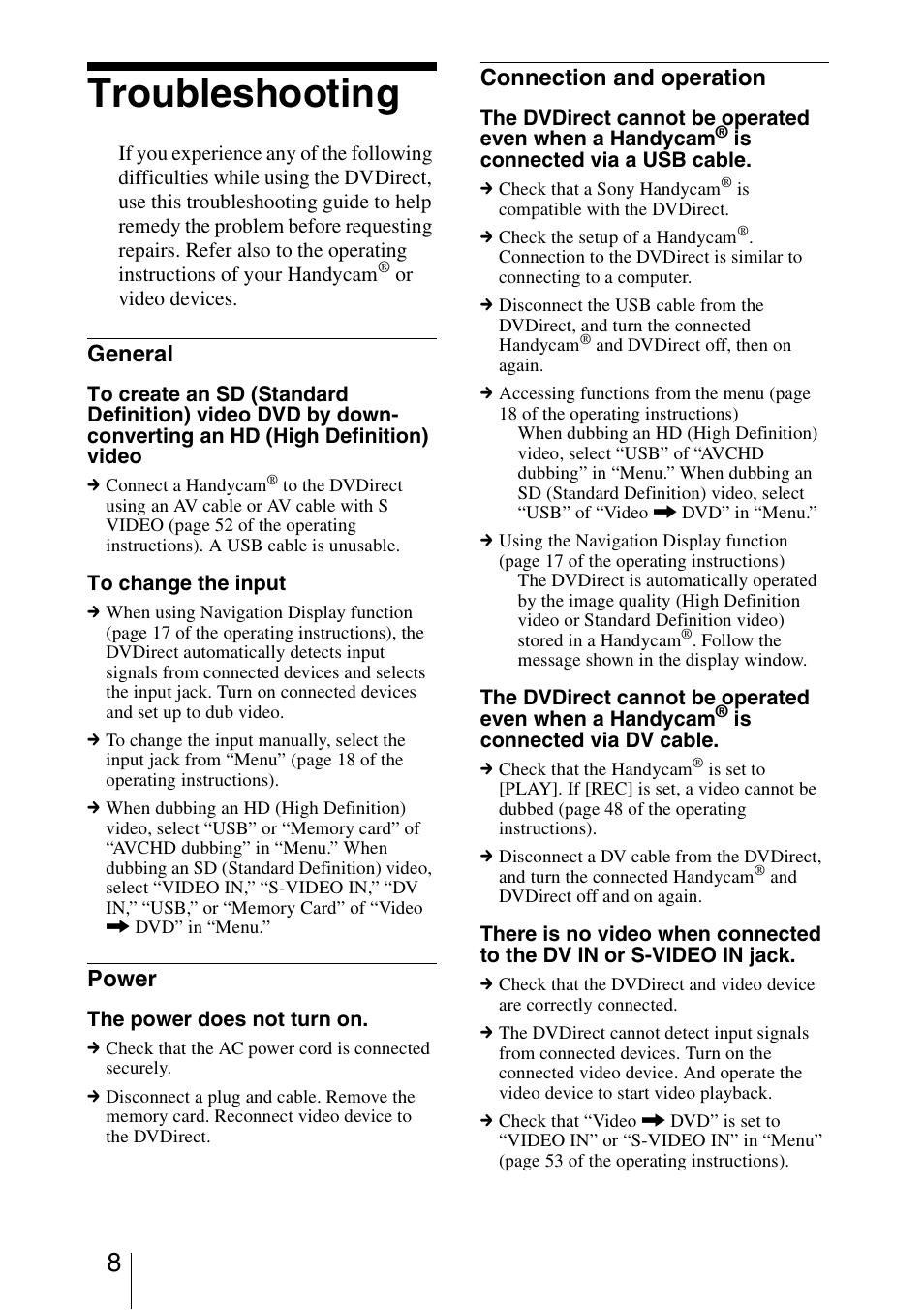 Troubleshooting, General, Power   Sony VRD-MC5 User Manual