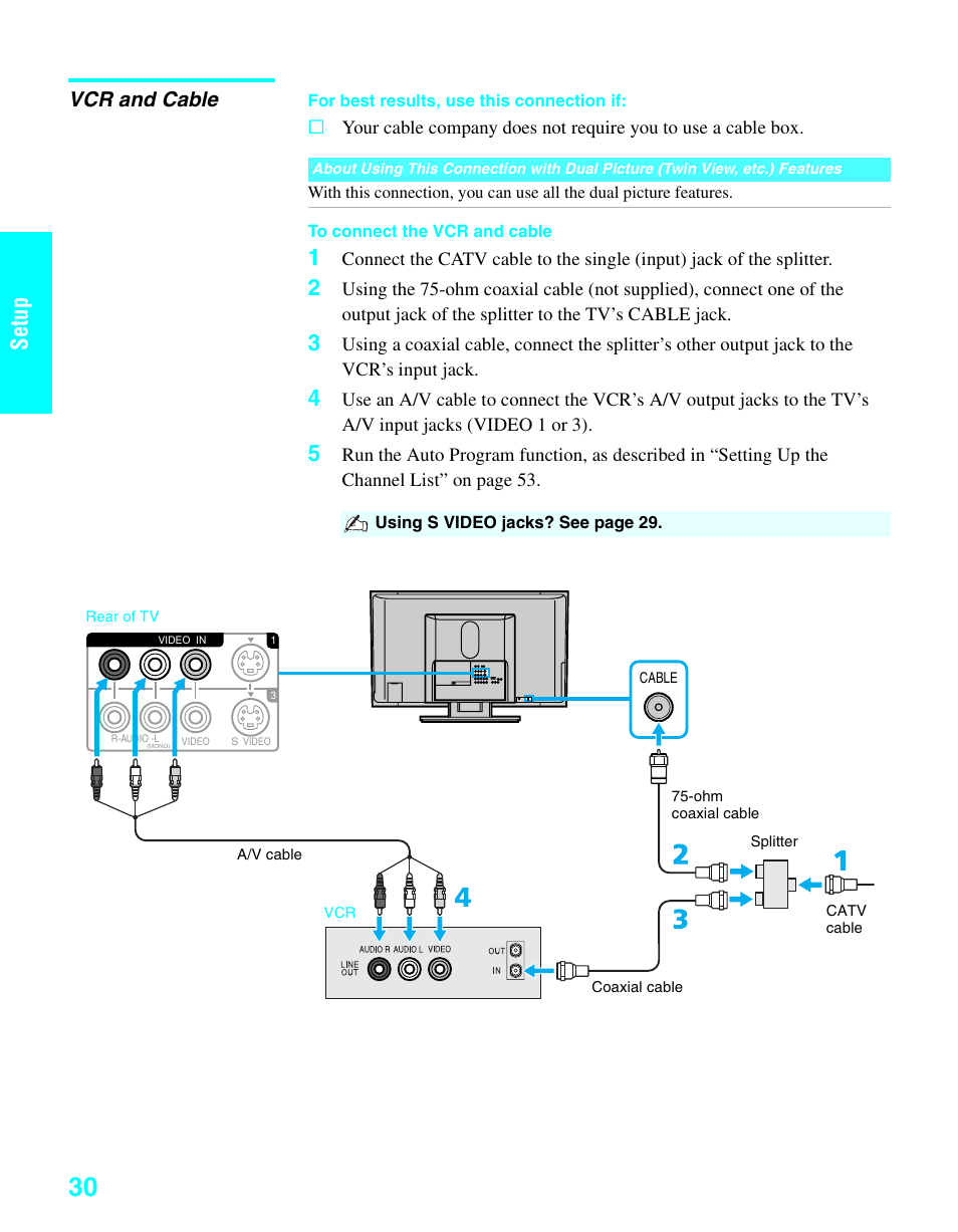 Vcr And Cable Setup Sony Kde 37xs955 User Manual Page 32 128 Trouble With Tv Using Splitter