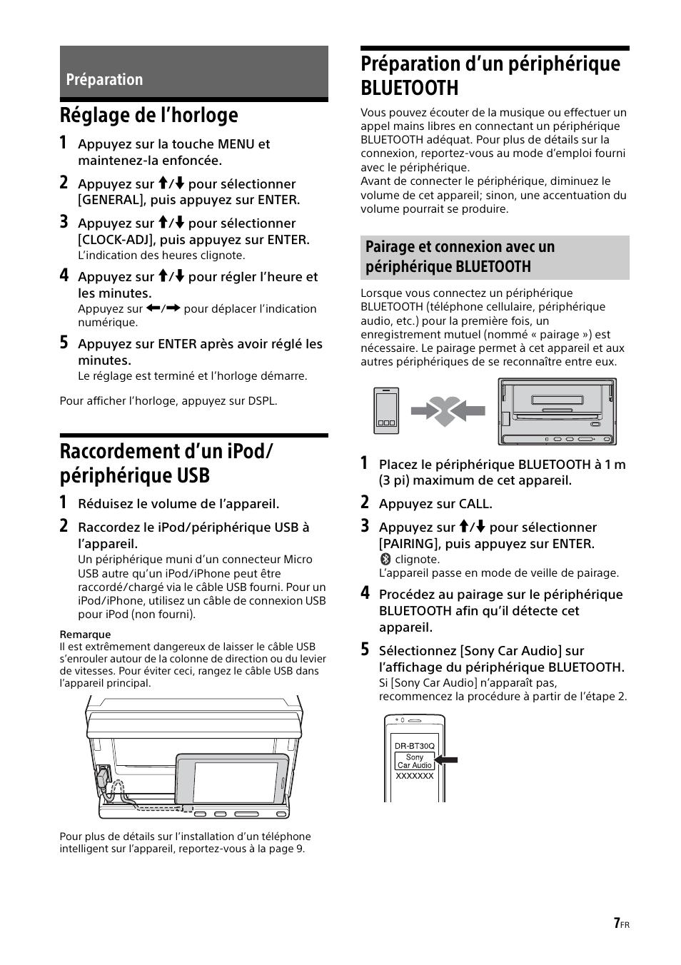 Préparation, Réglage de l'horloge, Raccordement d'un ipod/ périphérique usb