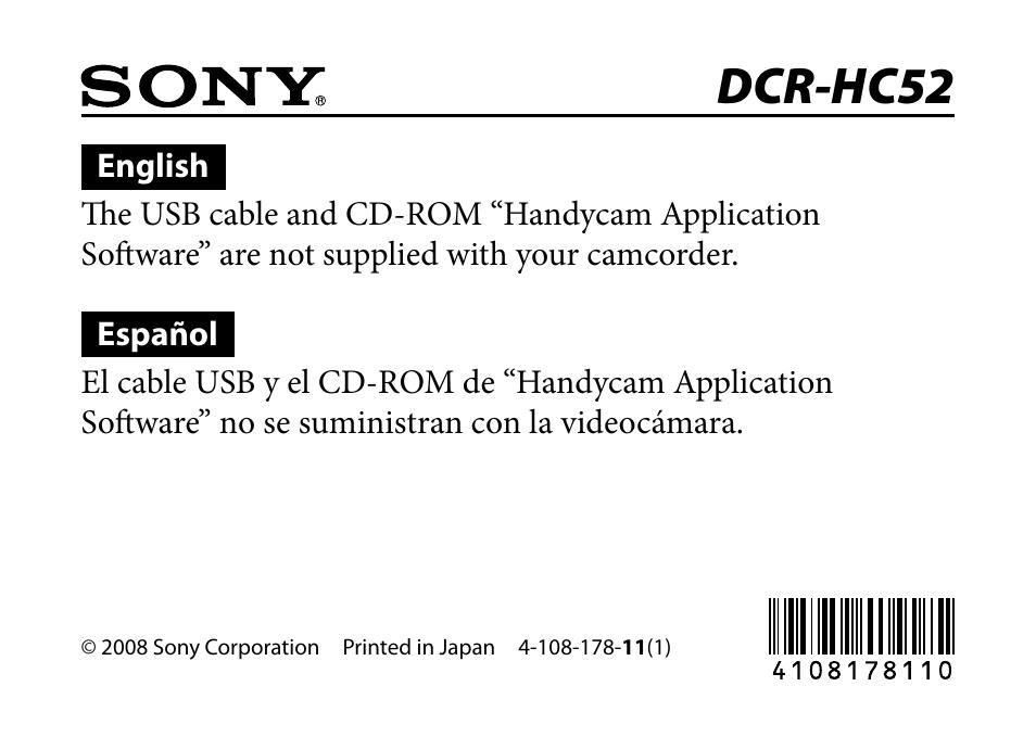 sony handycam software dcr-hc52