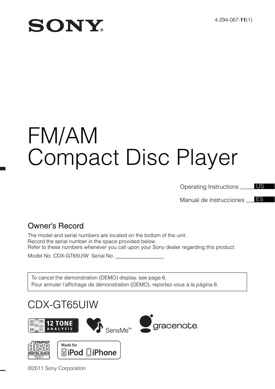 sony cdx-gt65uiw user manual | 68 pages  manuals directory