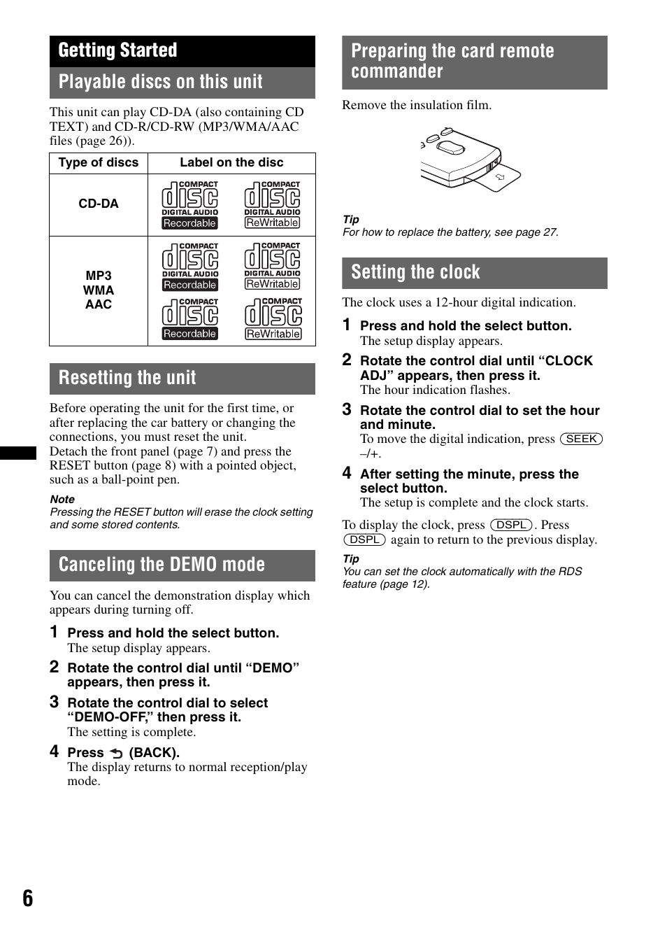 Getting started, Playable discs on this unit, Resetting the unit | Sony CDX- GT65UIW User Manual | Page 6 / 68