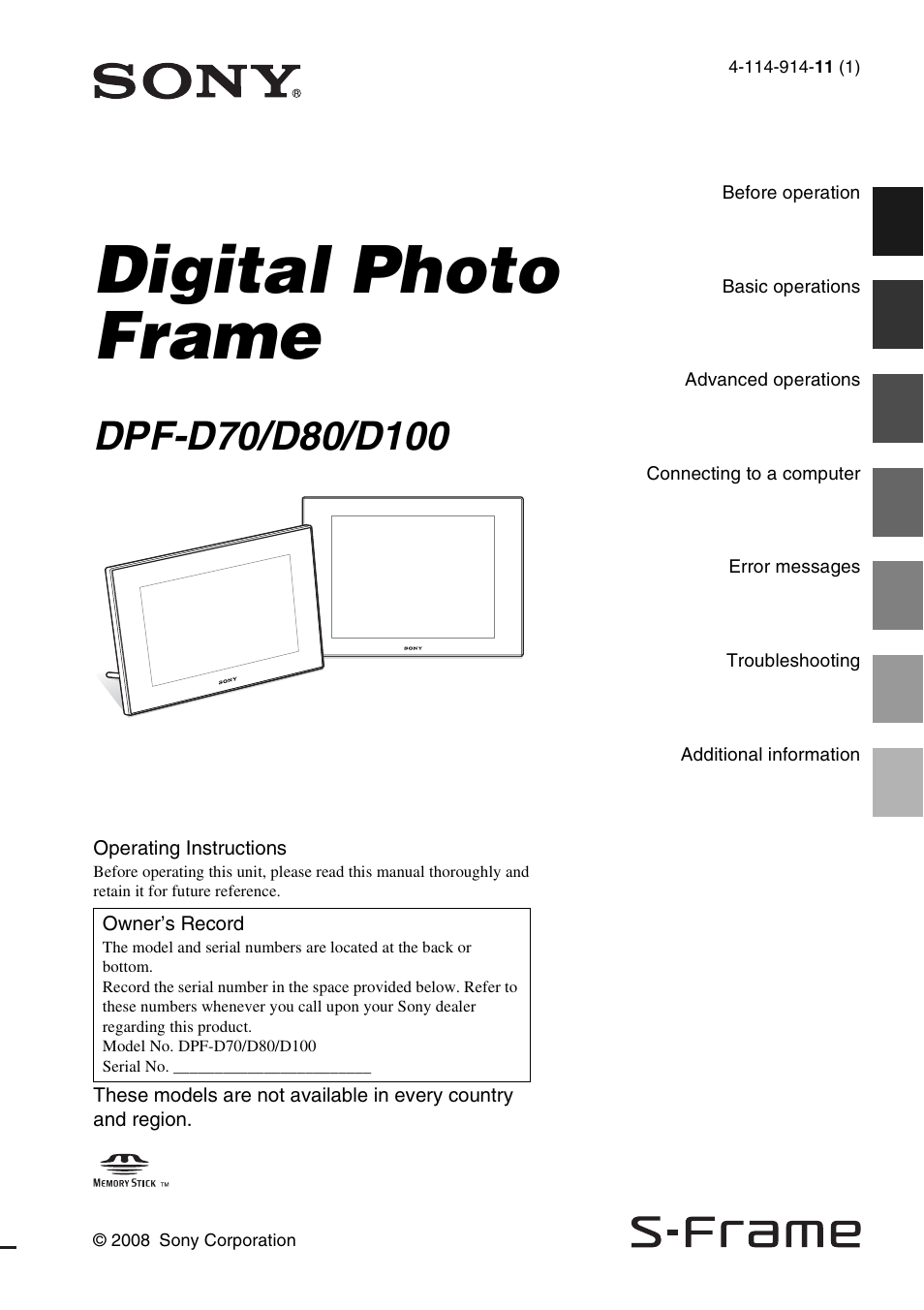sony dpf d70 user manual 48 pages also for dpf d80 dpf d100 rh manualsdir com sony dpf-d70 manual Sony EVI-D70