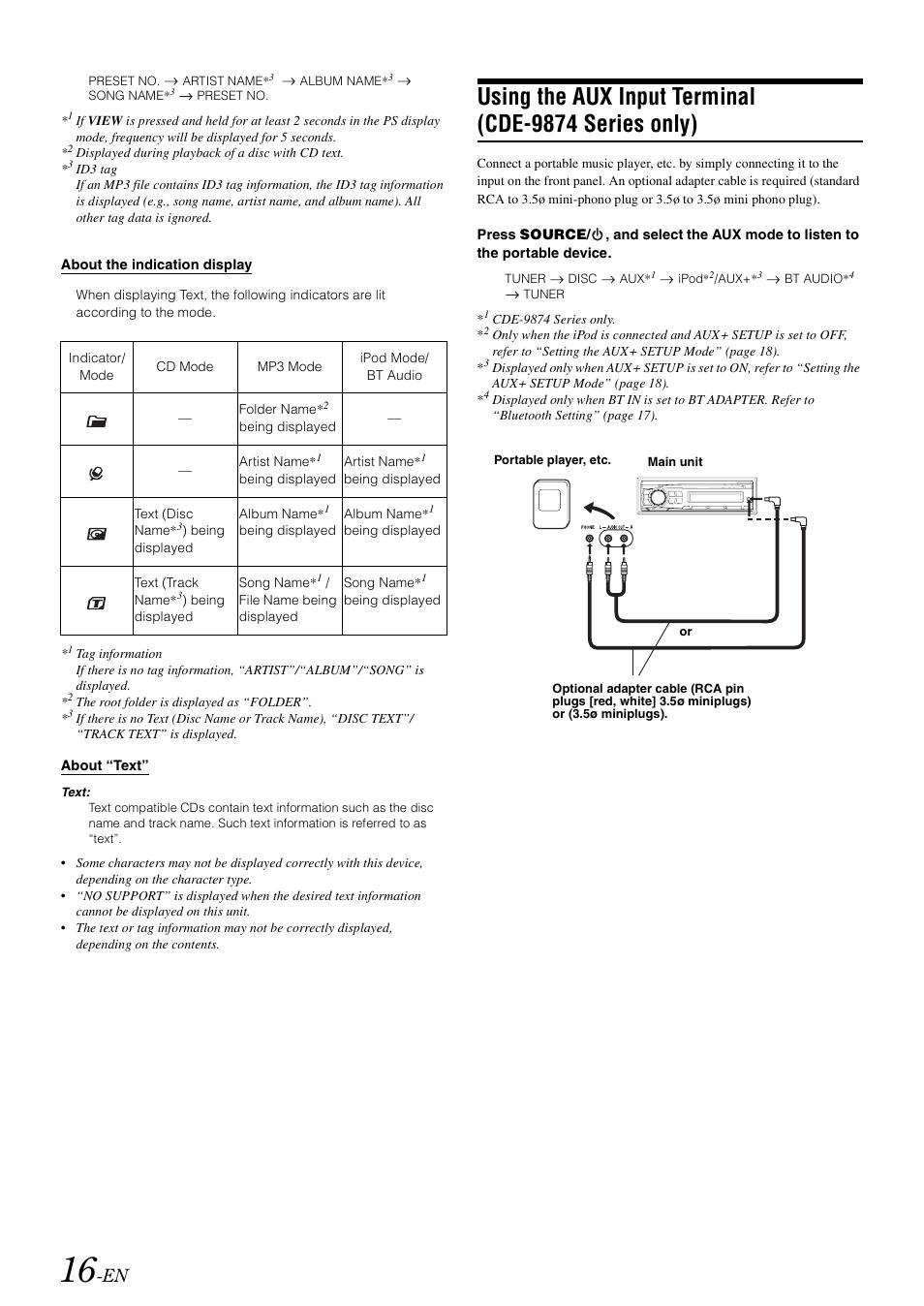 using the aux input terminal cde 9874 series only alpine cde rh manualsdir com alpine cde- 9874 l manual alpine cde 9874 owners manual