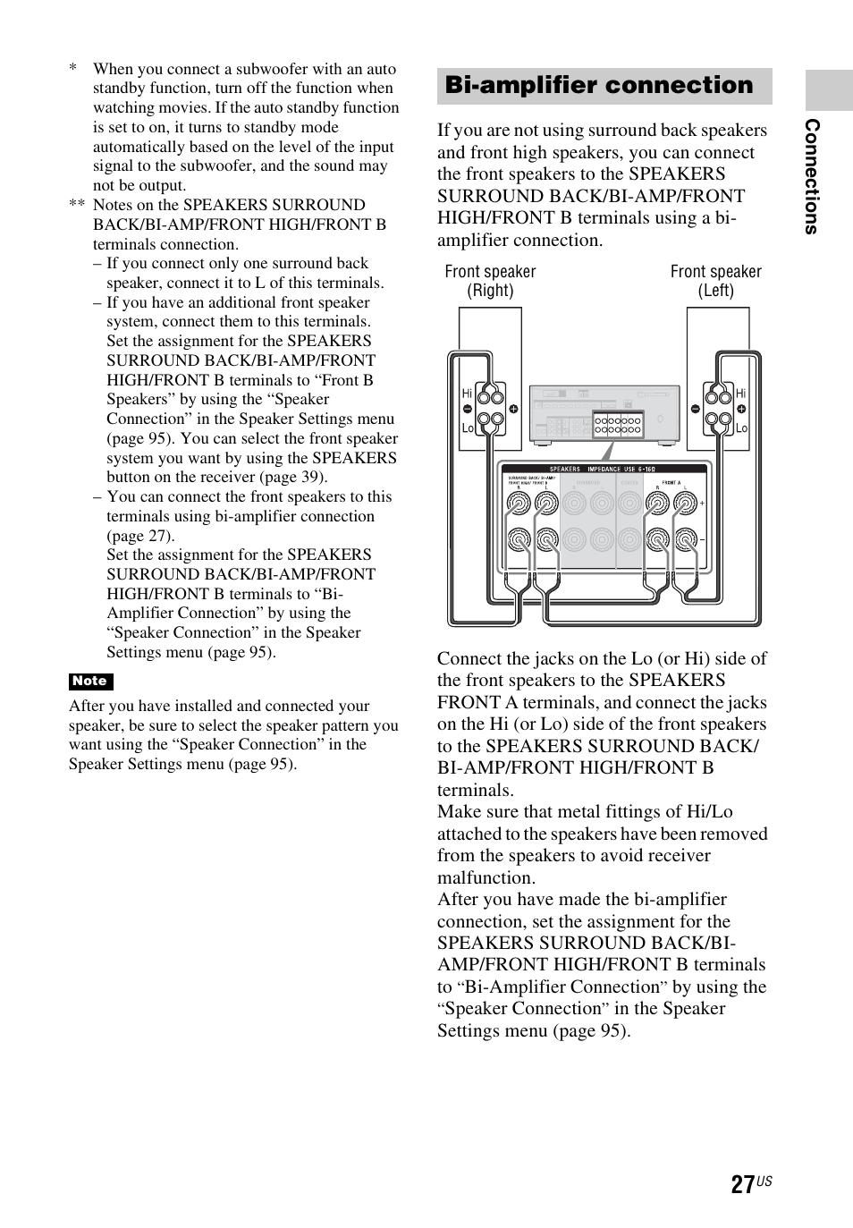 Sony Amp Manuals 1845c Wiring Diagram Back Up Alarm Array Bi Amplifier Connection Str Dn1040 User Manual Page 27 Rh Manualsdir Com