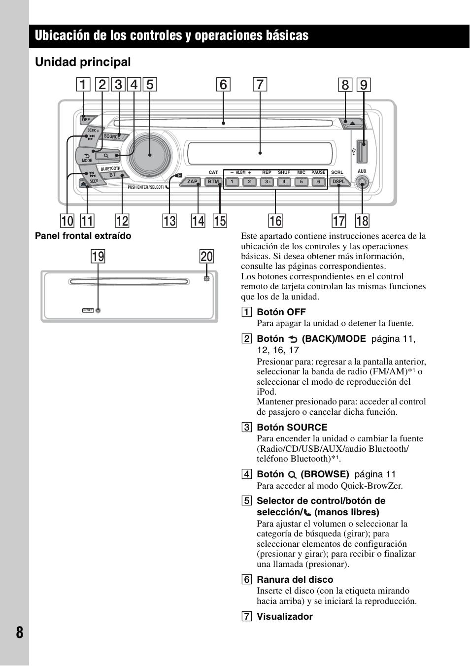 sony mex bt3700u wiring harness ubicaci  n de los controles y operaciones b  sicas  unidad principal  unidad principal