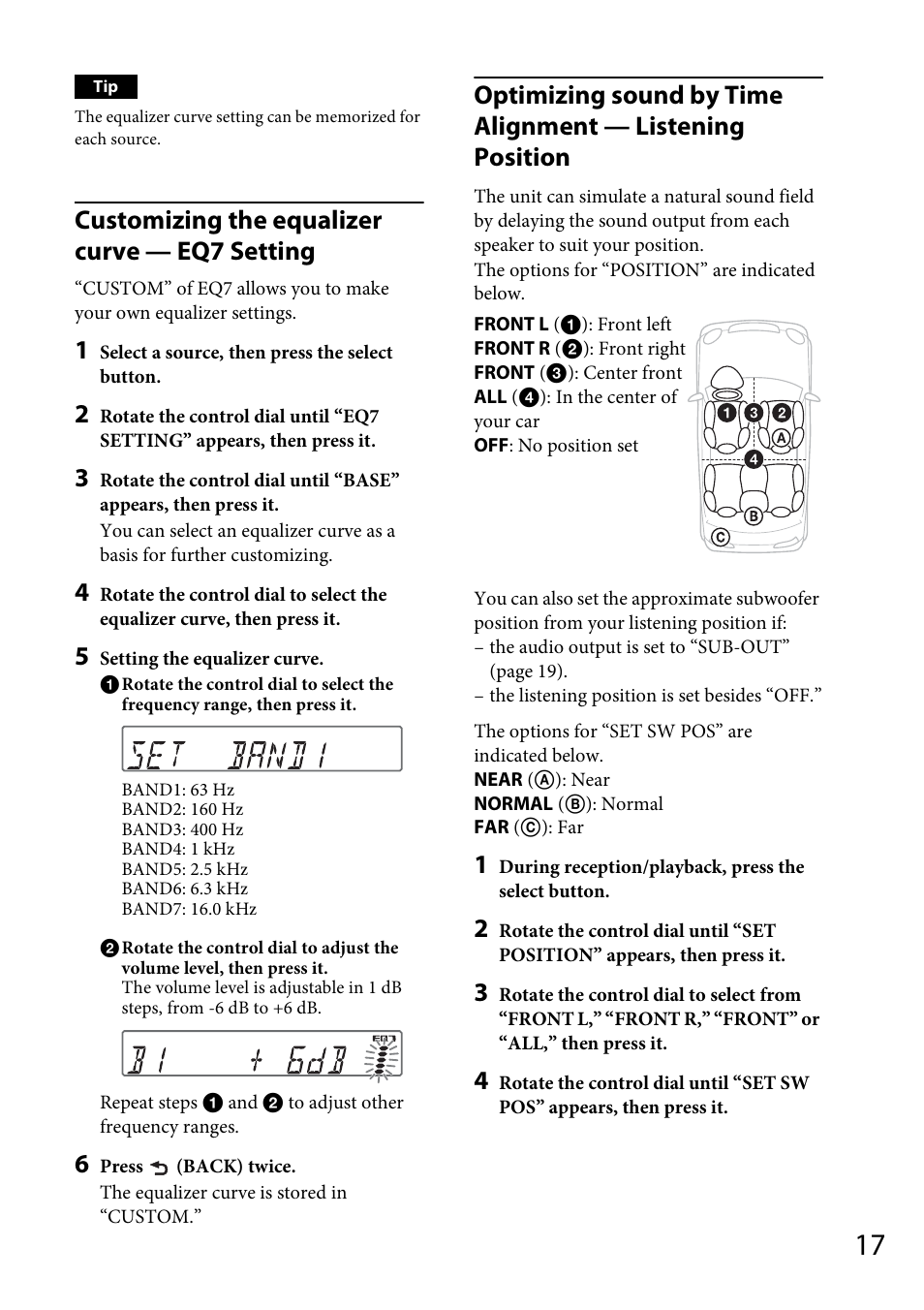 Customizing the equalizer curve — eq7 setting | Sony CDX-GT56UI User Manual  | Page 17 / 60