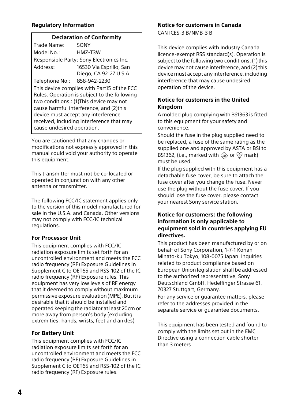 Sony HMZ-T3W User Manual | Page 4 / 52 | Also for: HMZ-T3