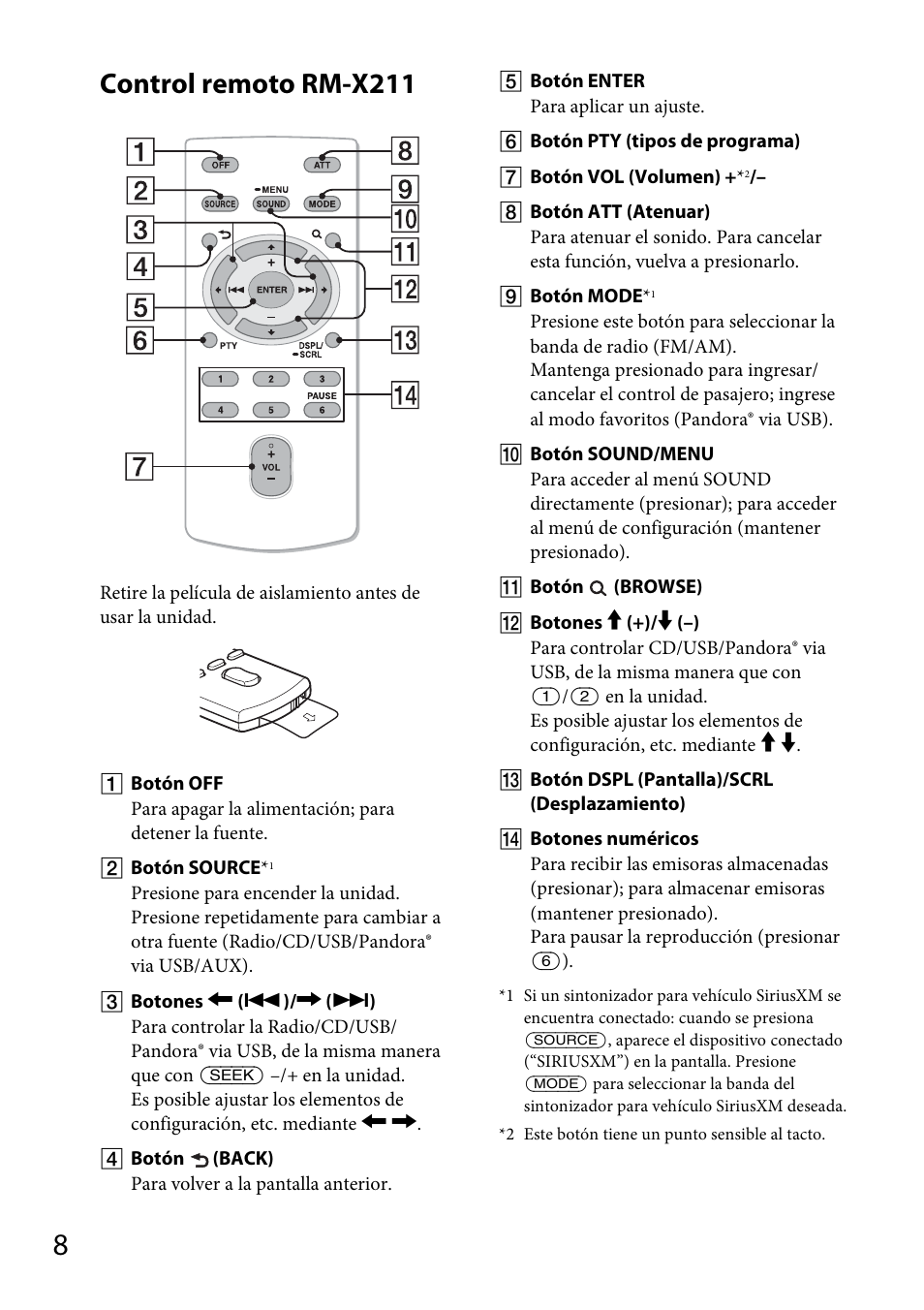 Control remoto rm-x211 | Sony CDX-GT570UP User Manual | Page 72 /