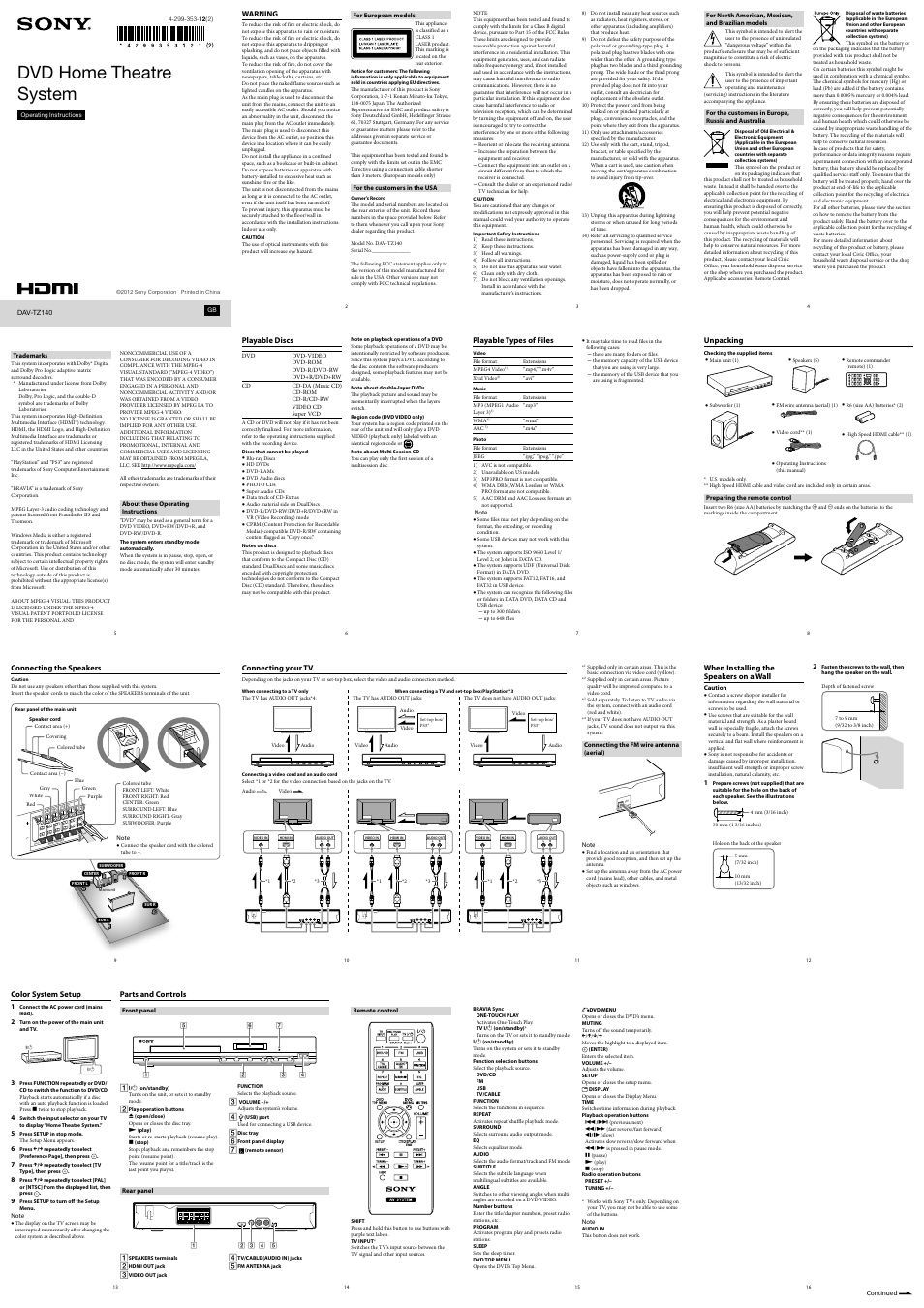 Sony Dav Tz Page on Sony Home Theater System Manual