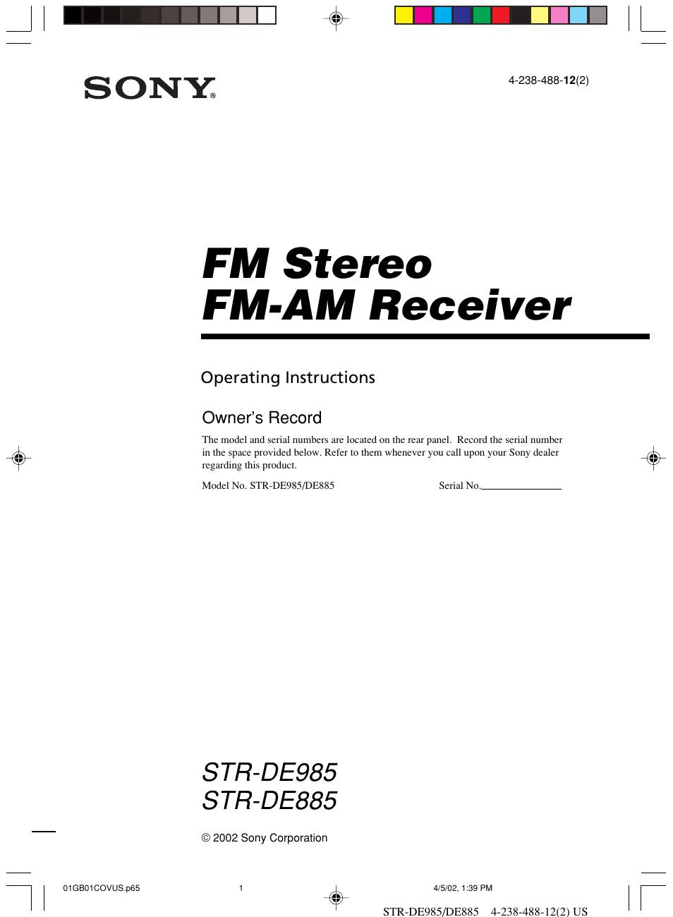 sony str de985 user manual 71 pages also for str de885 rm pp411 rh manualsdir com Sony STR De985 Manual sony receiver str de985 manual