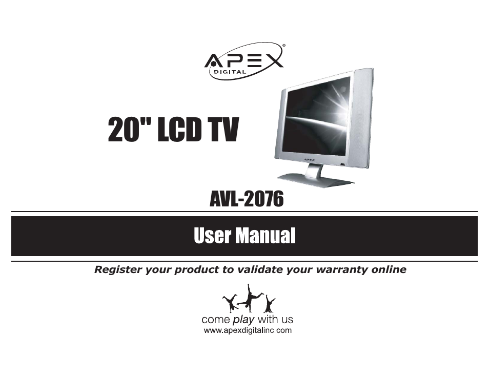 apex digital avl 2076 user manual 21 pages rh manualsdir com Apex Digital TV Cieling Mounts Apex Digital DVD Player