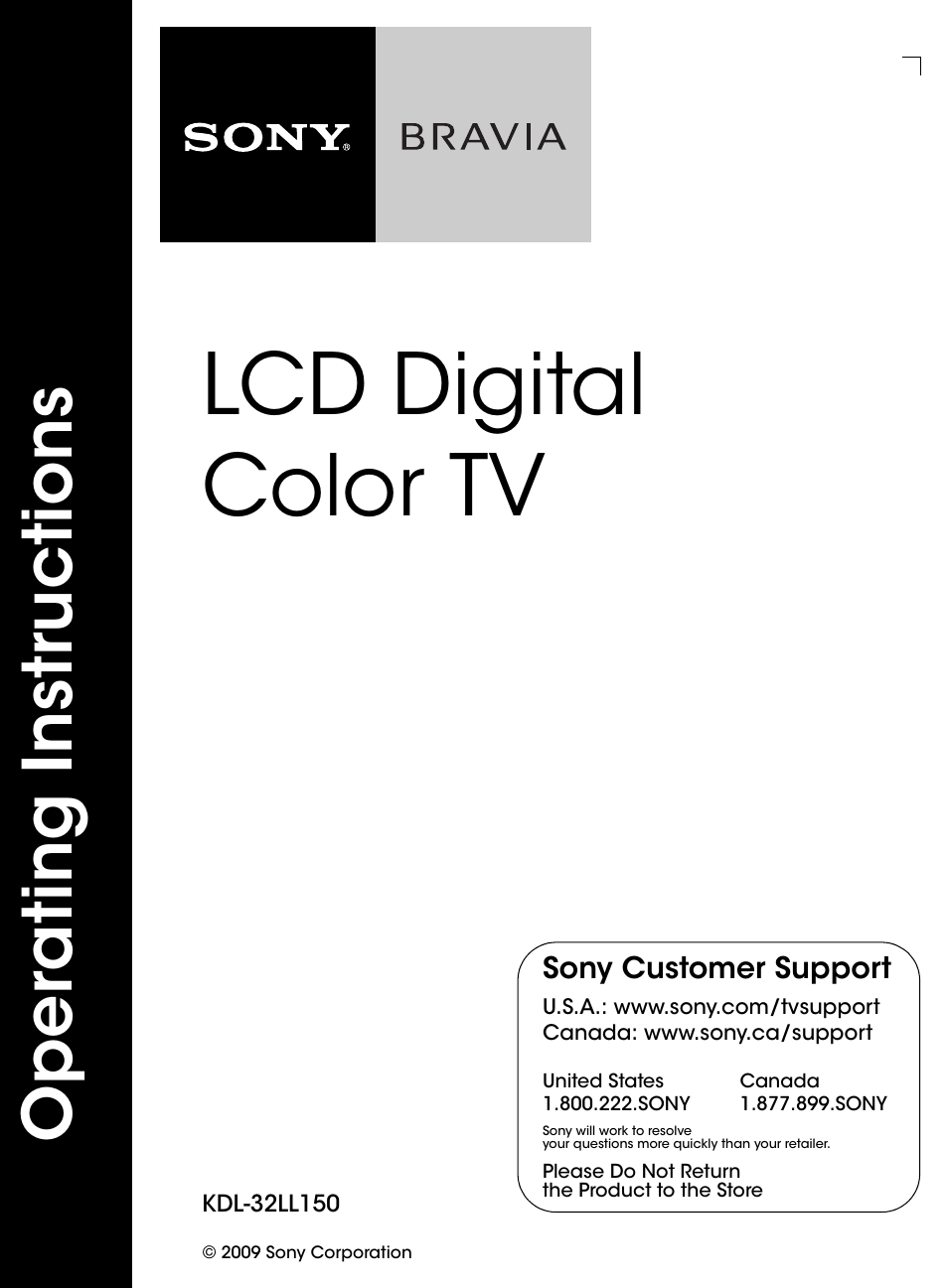 sony kdl 32ll150 user manual 48 pages rh manualsdir com sony lcd digital color tv setup guide sony lcd digital color tv setup guide