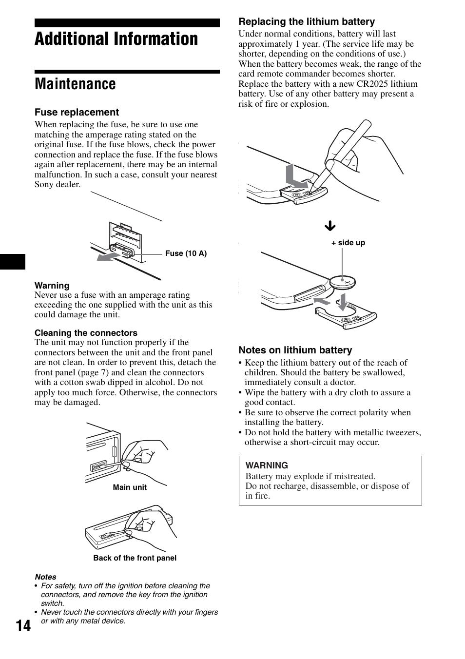 additional information maintenance sony cdx s2000 user manual rh manualsdir com