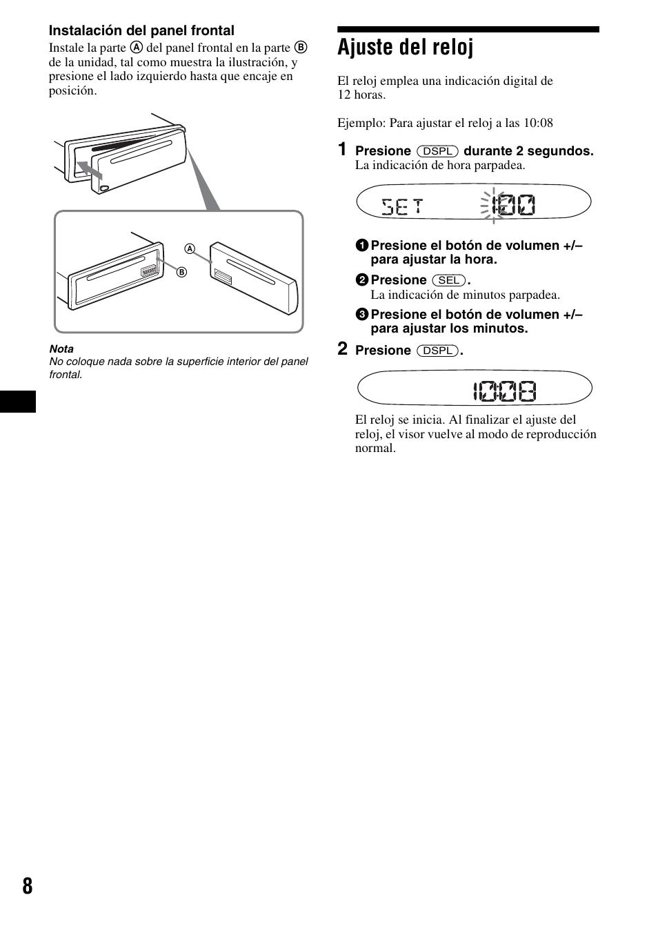 ajuste del reloj sony cdx s2000 user manual page 26 56 rh manualsdir com