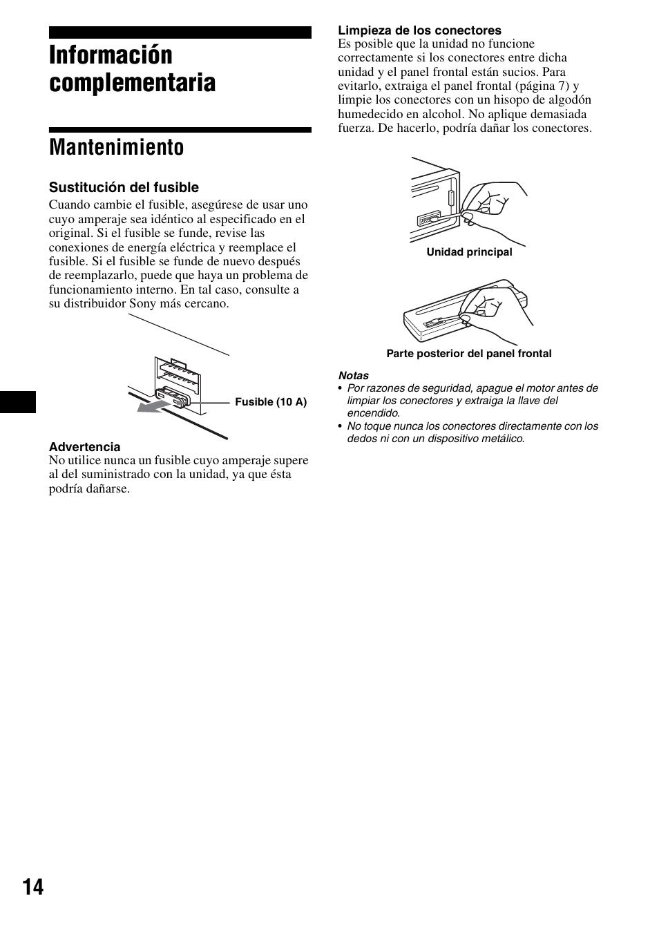informaci n complementaria mantenimiento sony cdx s2000 user rh manualsdir com